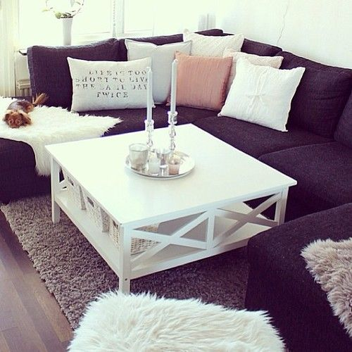 Loving This White Coffee Table With The Dark Sofa