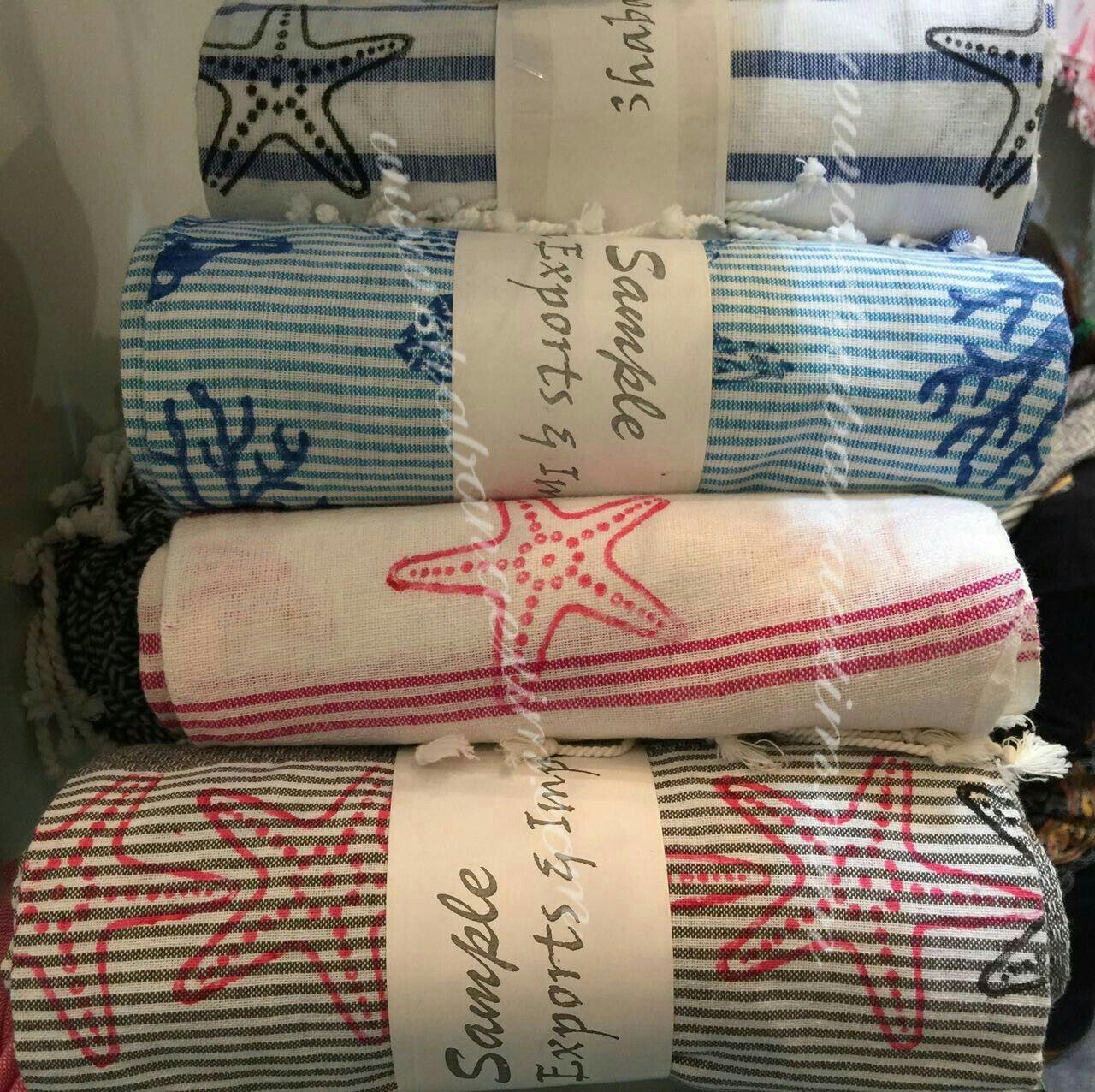 Horse Star Beach Print Block Prints Turkish Towels Sea Shells Custom Design Textile Art Turtle C