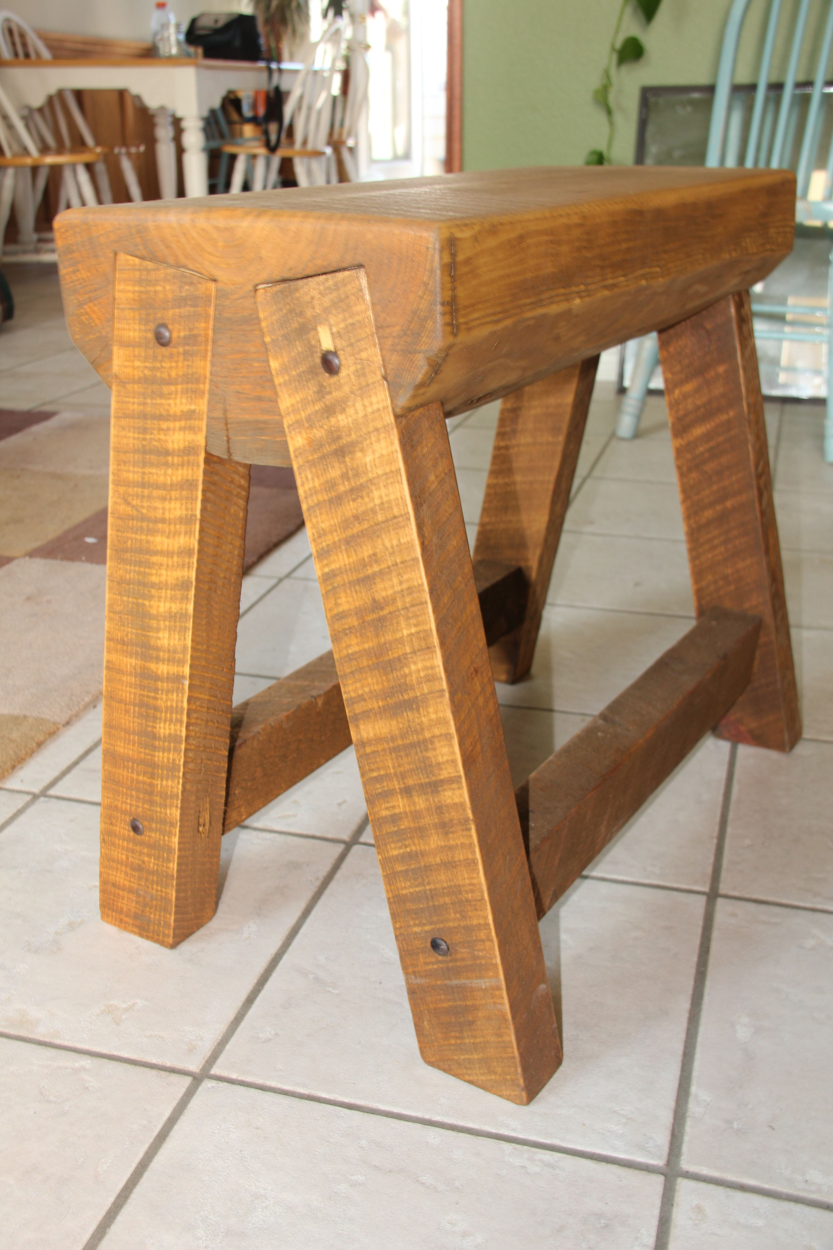 Montana-made bench/end-table. Brett Burglund - designer and creator. Made from scraps from construction project.