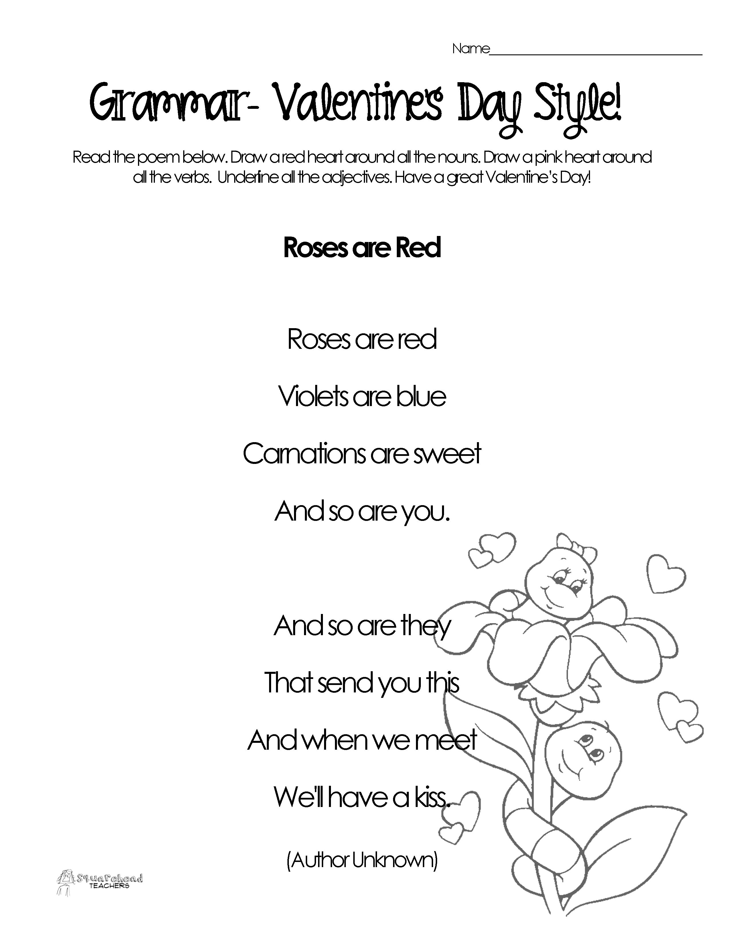 Silly Valentine S Day Poems For Grammar Practice Free Worksheets Valentines Day Poems Printable Valentines Coloring Pages Valentine Images [ 3300 x 2550 Pixel ]