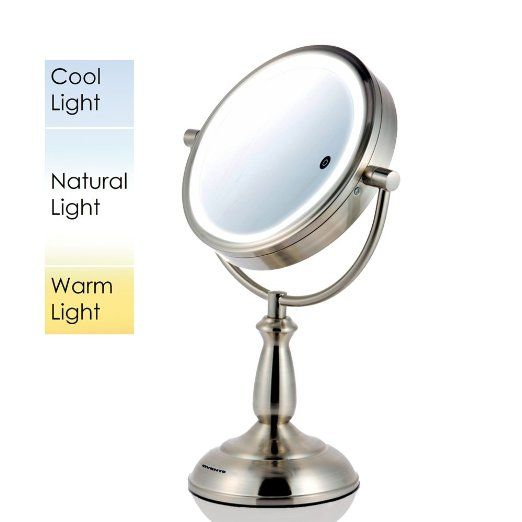 Amazon Com Ovente Mpt75bz Multi Touch Tabletop Makeup Mirror With 3 Tone Led Light Option 7 5 Makeup Mirror With Lights Makeup Mirror Tabletop Vanity Mirror