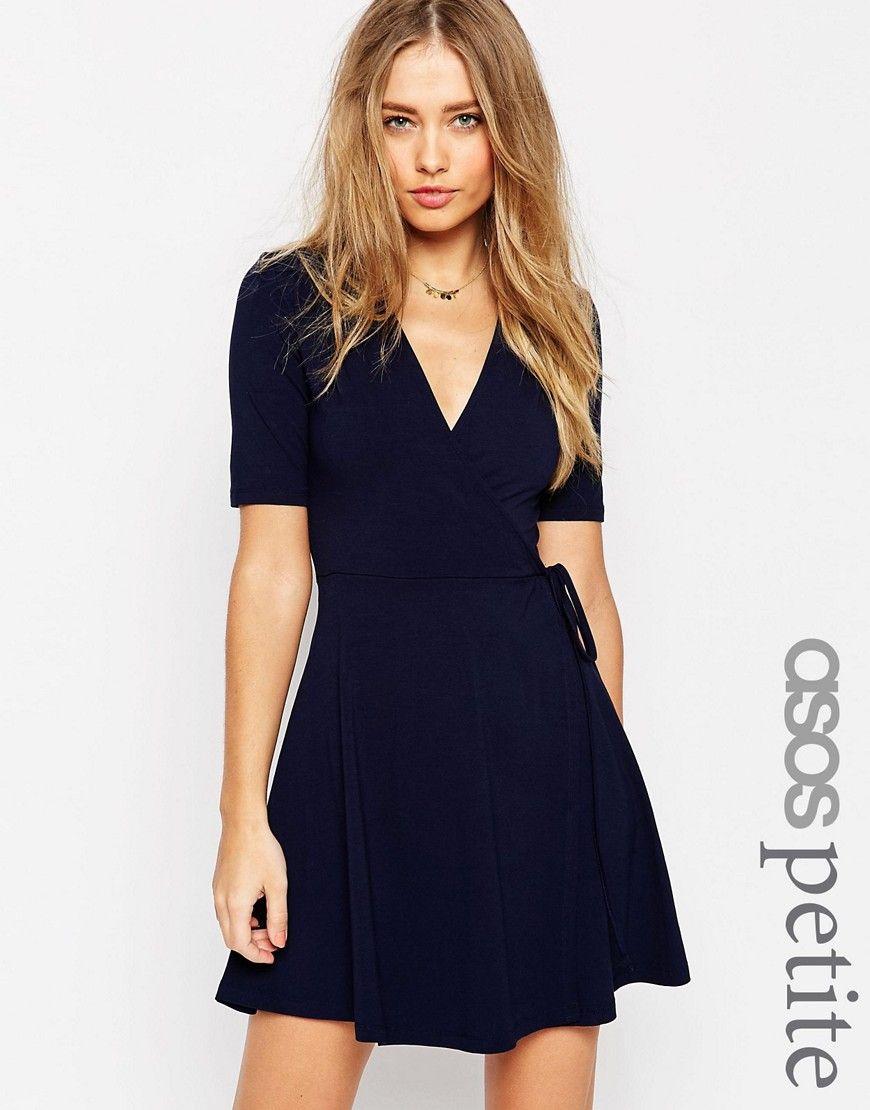Image of asos petite mini tea dress with wrap front stitch fix