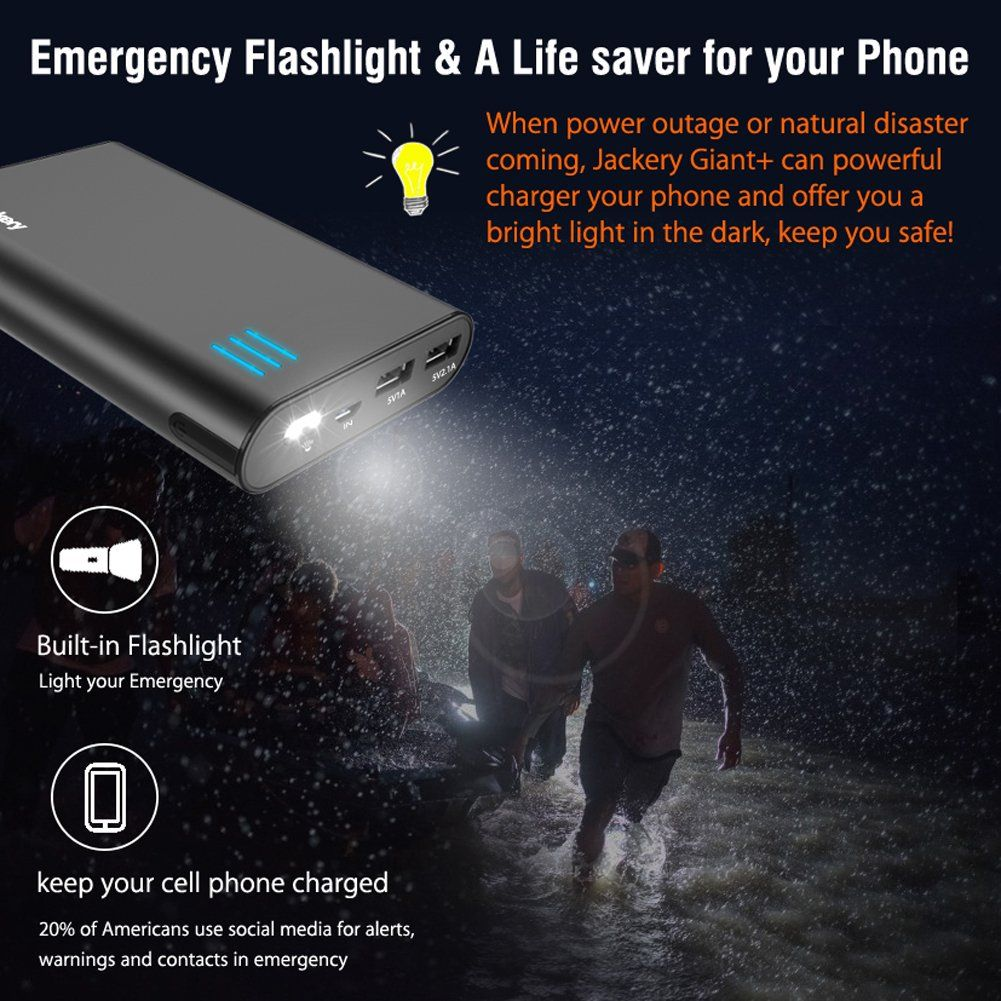 Portable External Charger Jackery Giant 12000mah Dual Usb Output Battery Pack Travel Backup Power Bank With Emergency Led F With Images Jackery Powerbank Portable Charger