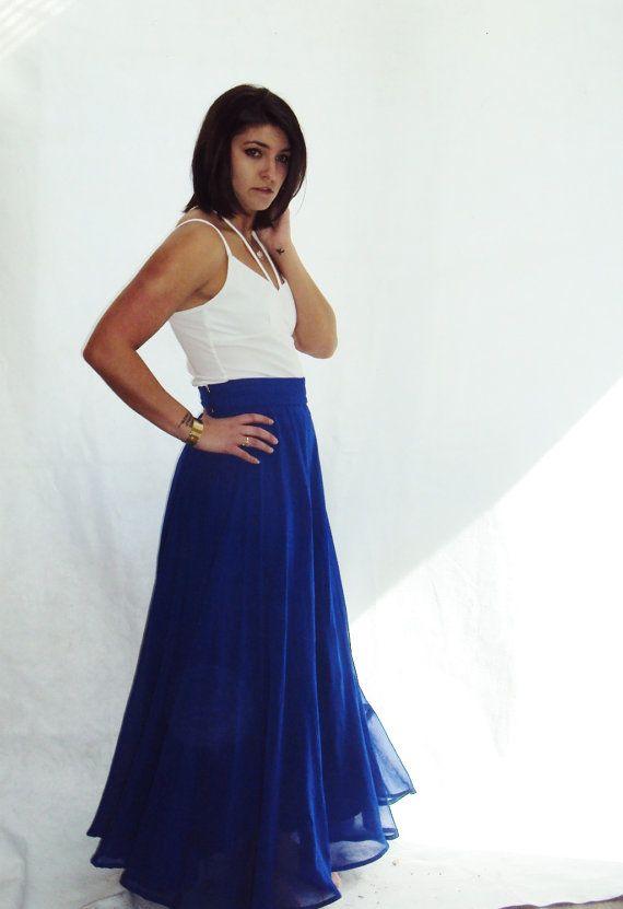 vintage SILK CHIFFON maxi skirt ROYAL blue Full Circle High Waist ...