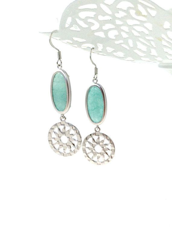 Sun Earrings Silver Sun Earrings Sun Dangle Earrings Amazonite