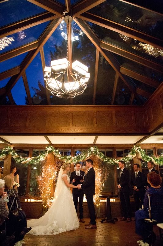 Ceremony At Winter Wedding With Le Lights Vaulted Gl Roof In The Conservatory Willowdale