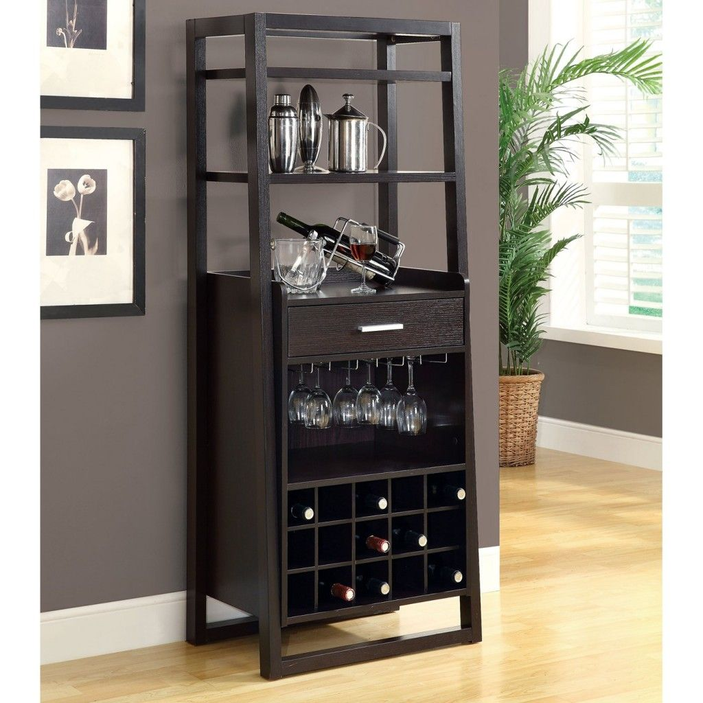 Simple Kitchen With Stainless Steel Gl Holder And Dark Grey Small Locking Liquor Cabinet Furniture