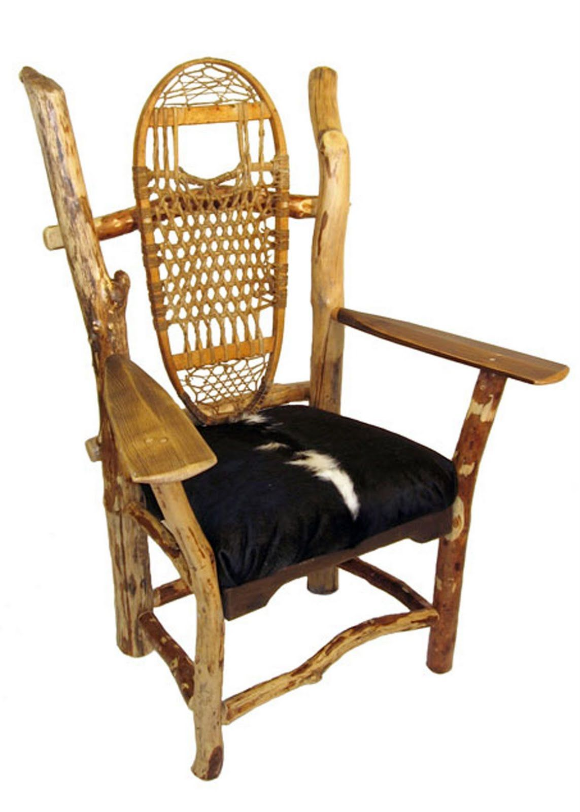 Primitive Chair With Branches, Snow Shoe And Paddles. Gonna Call It An  Assemblage.