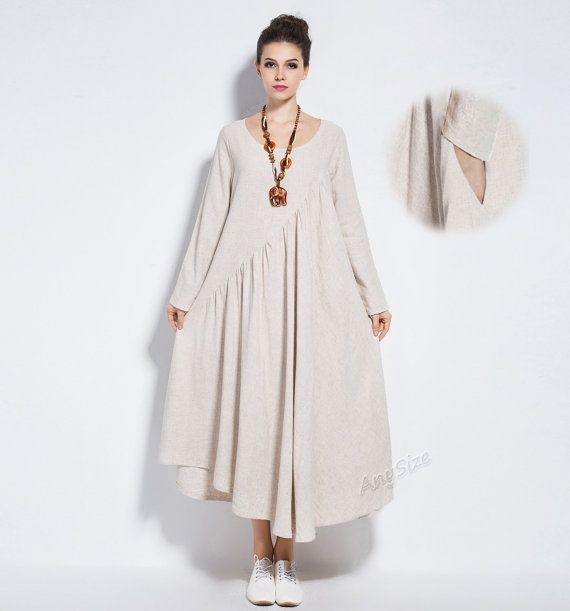 Anysize Linencotton Maxi Dress With Side Seam Pockets 4 Season Plus