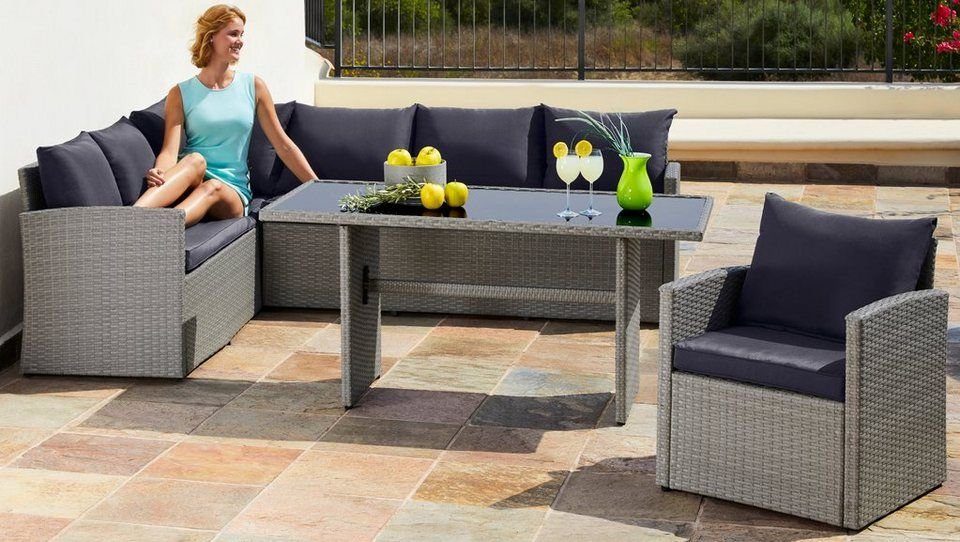 Loungeset Chicago 14 Tlg Eckbank Sessel Tisch 145x70 Cm Polyrattan Grau Gartenmobel Sets Lounge Mobel Outdoor Dekorationen