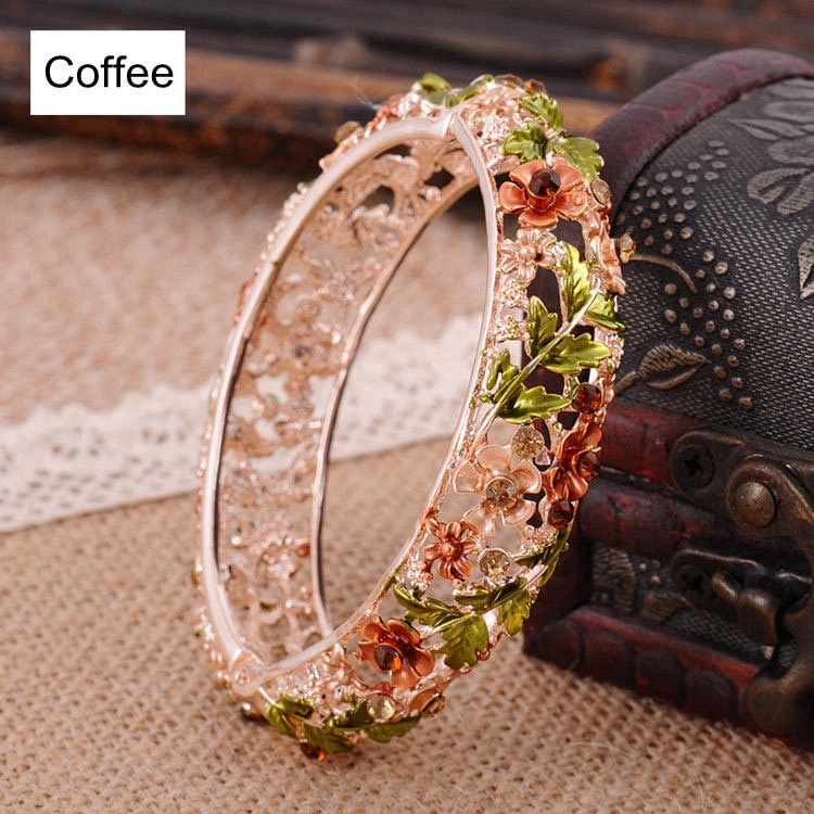 Vintage Chinese Cloisonne Bracelets Jewelry Gold Plated Hollow Crystal Rhinestone Flower Enamel Bangle for Women|Bangles| - AliExpress