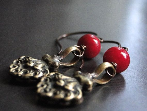 Jewelry Ruby Earrings Dangle Earrings Statement by wulfgirl