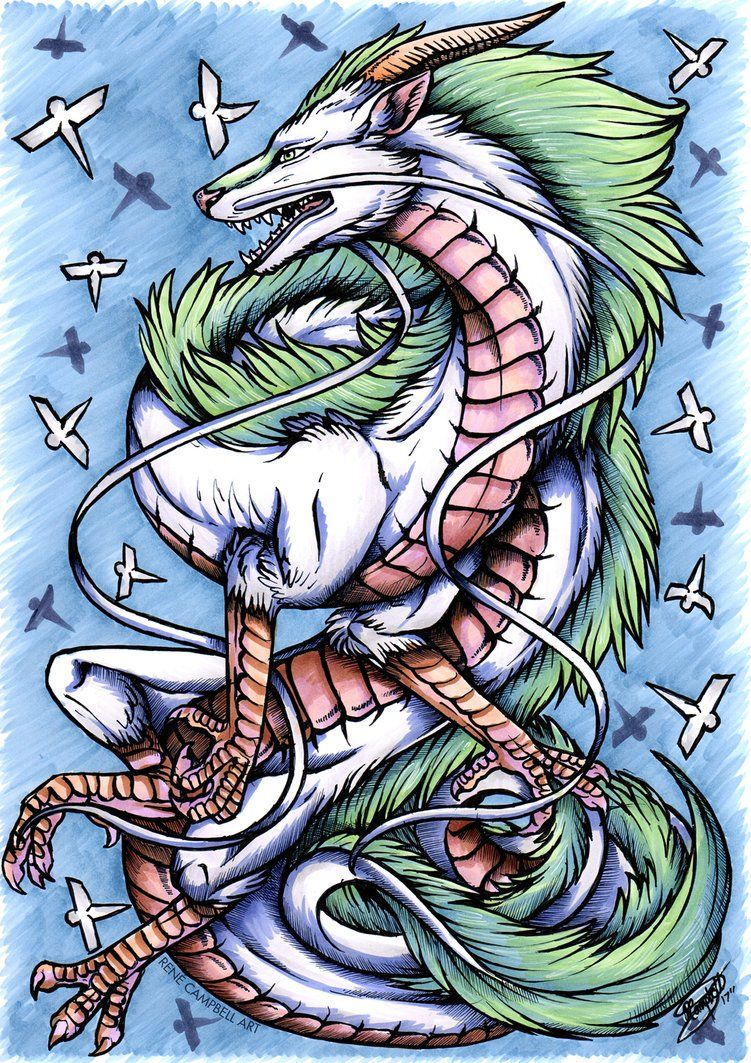 Drawing of Haku from Studio Ghibli's Spirited Away. Posted for Inktober, Day 6 Copic markers, Unipin fineliner on A4 Xpressit blending card
