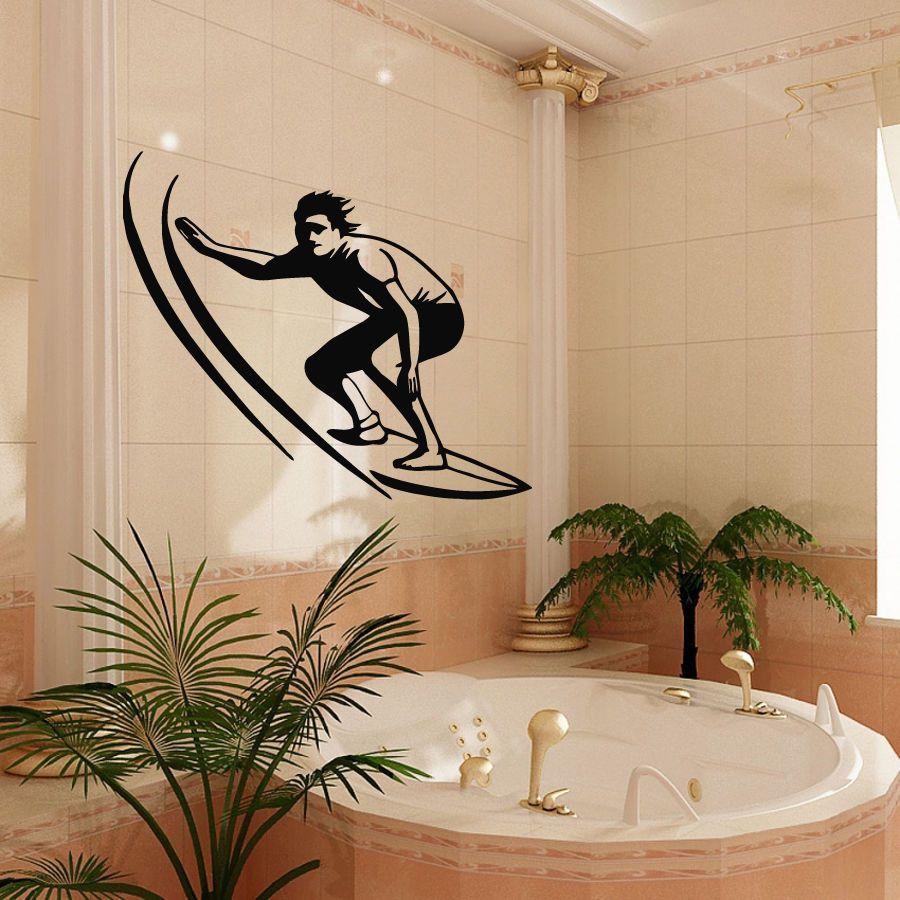 Wall Decals Bath Vinyl Decal Sticker Art Bathroom Decor Surfing Man Surfer Kj299