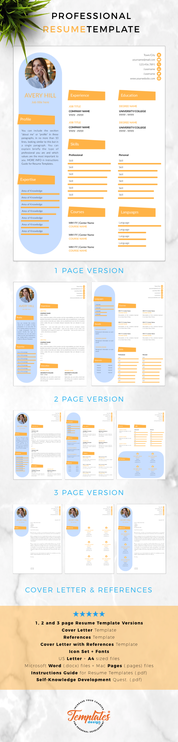 creative resume template for word    instant download cv