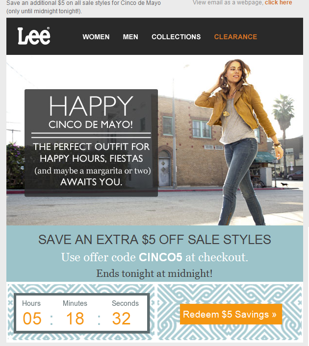 In this email from Lee, a countdown timer creates a sense of urgency