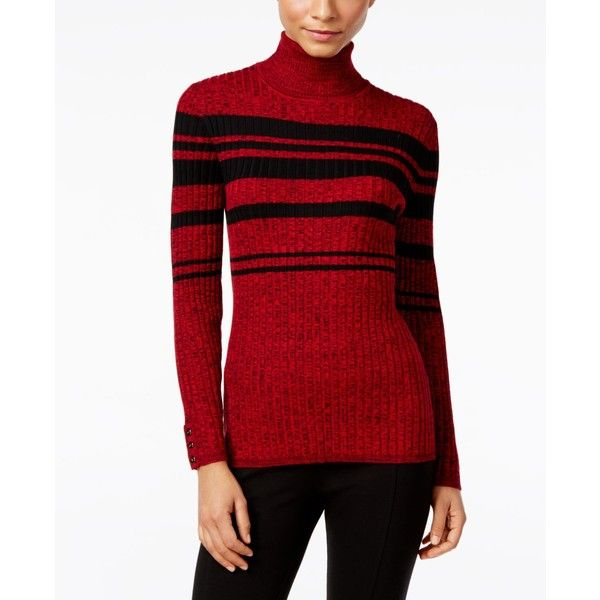 Style & Co. Petite Striped Turtleneck Sweater, ($19) ❤ liked on ...