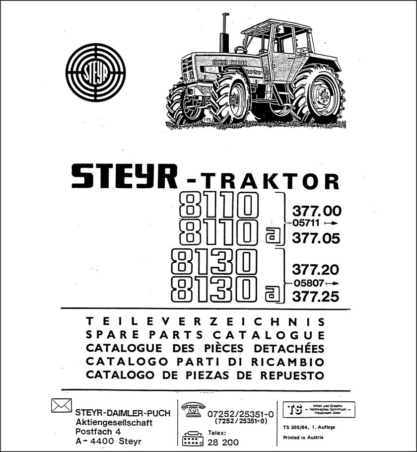 Steyr 8110 8110A Spare Parts Catalog download in 2020