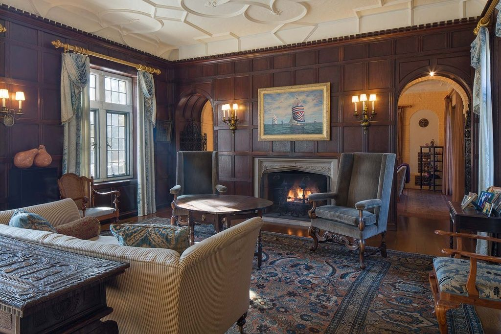 Tudor Revival Interiors sitting room in 1921 tudor revival in larchmont, ny. | living