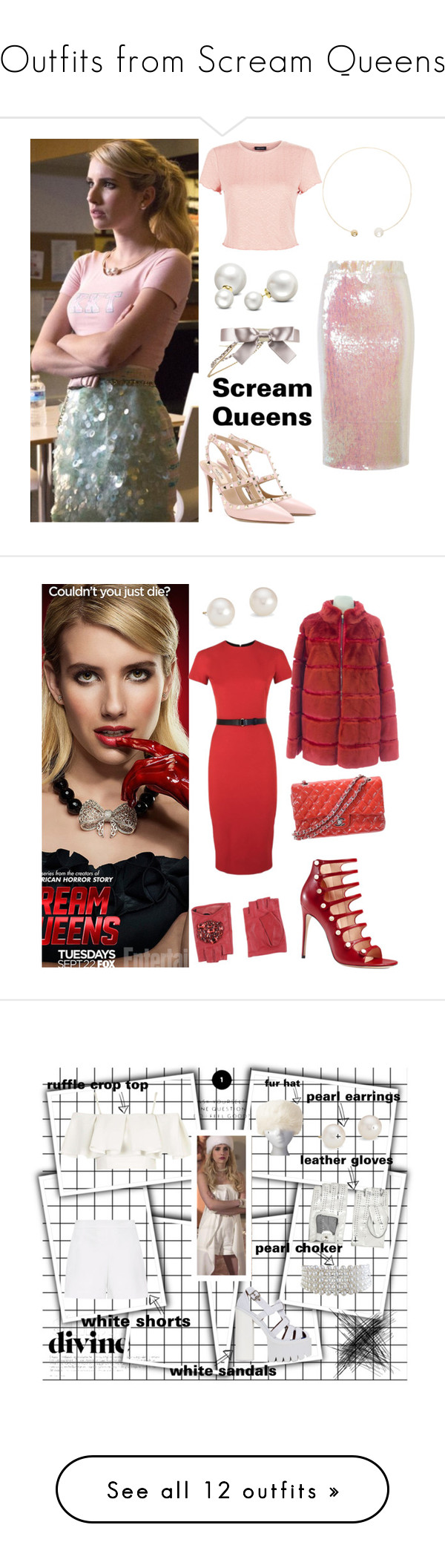 """""""Outfits from Scream Queens"""" by ramonaalexandrova ❤ liked on Polyvore featuring Essentiel, New Look, Chanel, Allurez, Sophie Bille Brahe, Valentino, emmaroberts, queens, scream and ScreamQueens"""