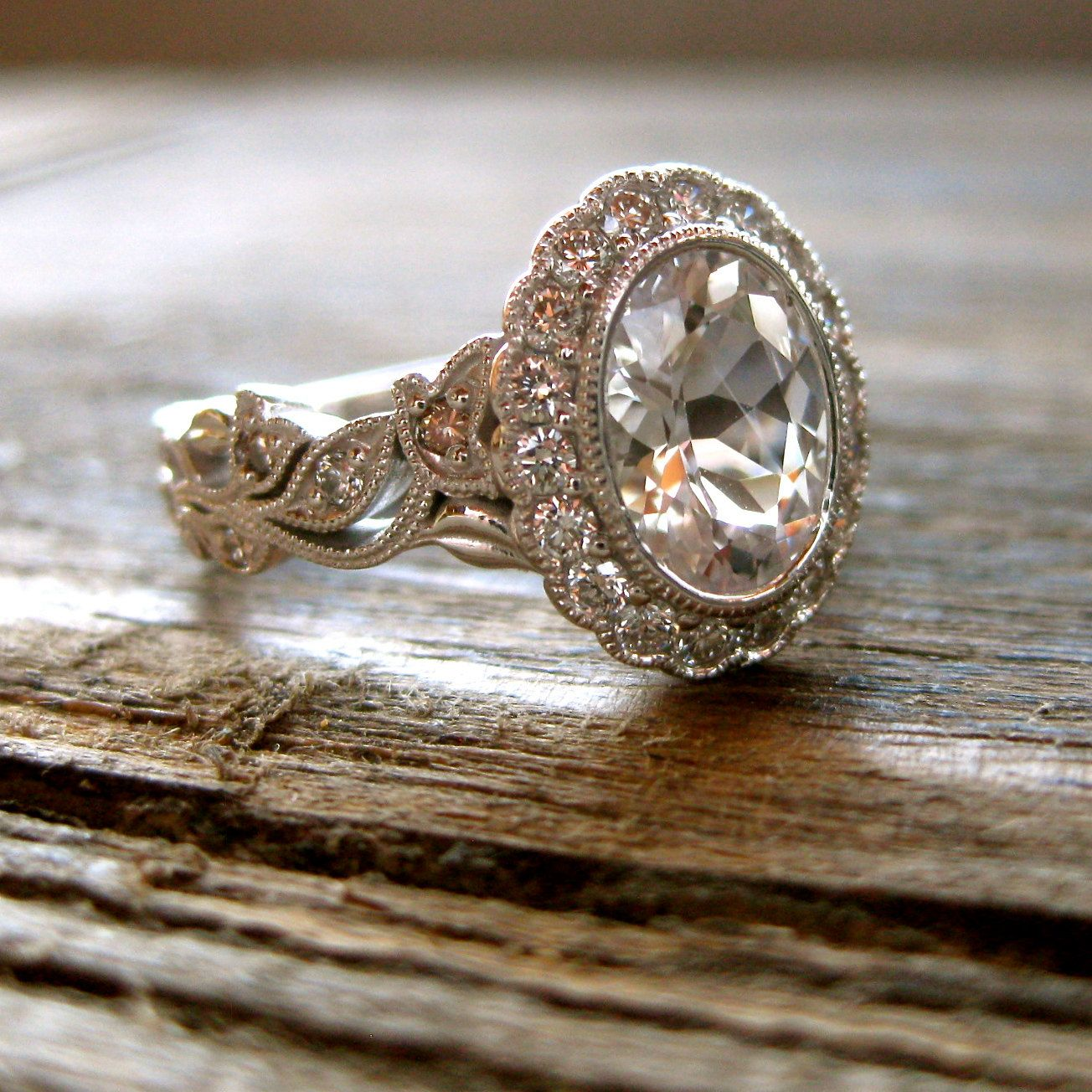 Natural White Sapphire & Diamond Engagement Ring In 14k White Gold With  Champagne Diamonds In Flower