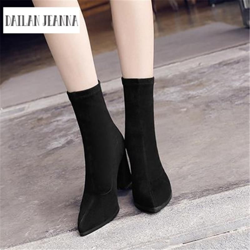 efce68660d6 suede pointed high-heeled ankle boots RI