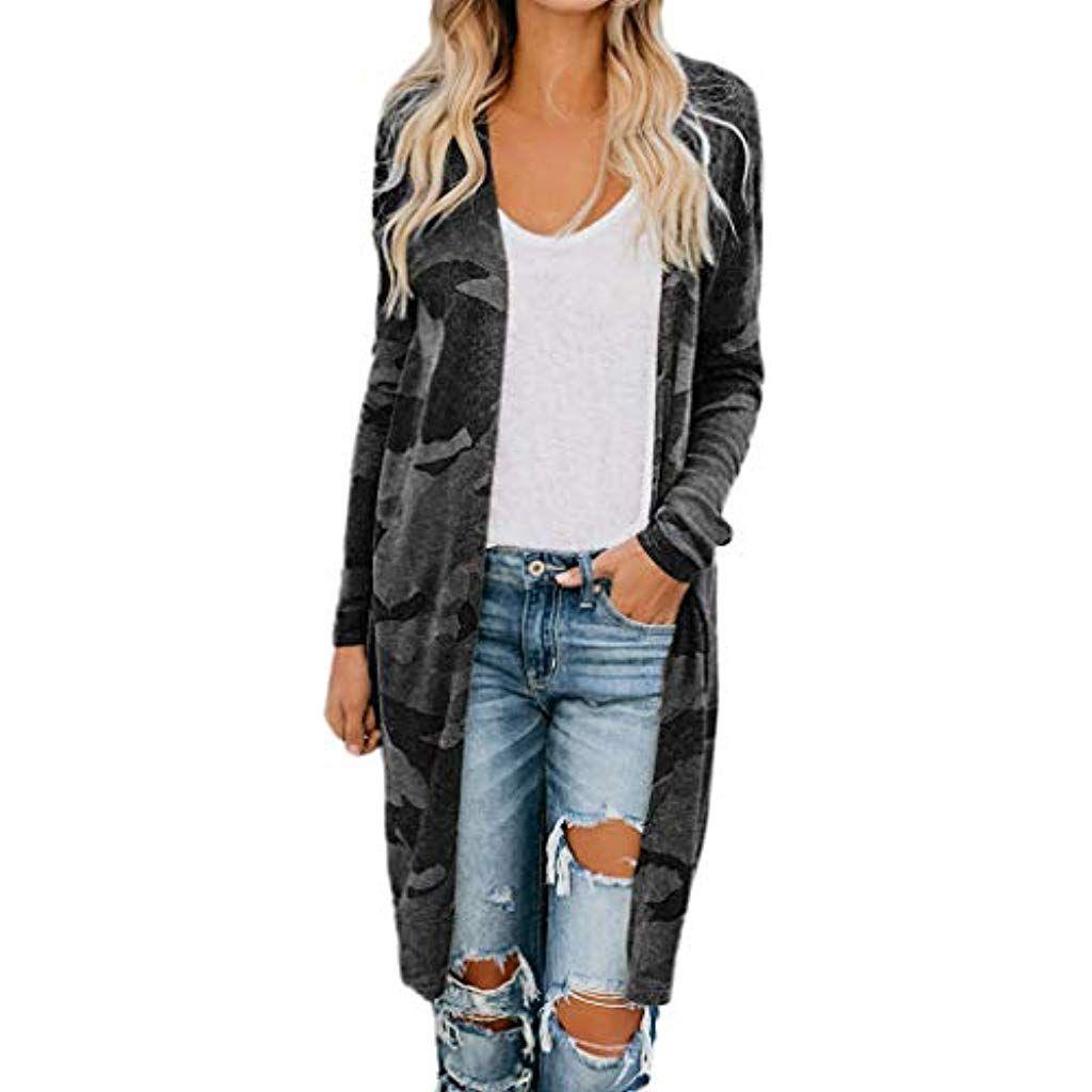 Dunner Mantel Damen Fruhling Jacke Outwear Strickjacke Cardigan Coat Tops Sweatjacke Langarm Elegant Women Long Cardigan Coats Jackets Women Long Cardigan Coat