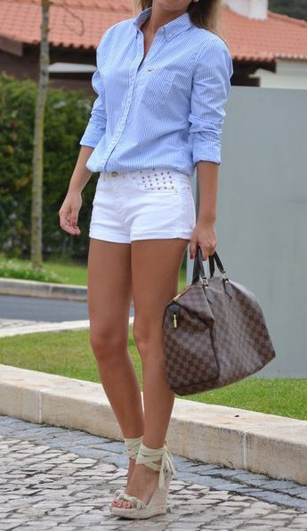 oxford, stripes, lv, wedges. Perfect outfit. Heels and wedges with ...