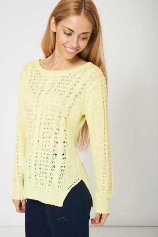 Jewel Neck Style Yellow Jumper Sweater