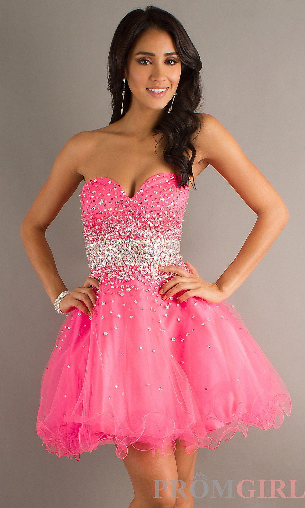 Strapless Beaded Party Dress, Mori Lee Short Prom Dress- PromGirl ...