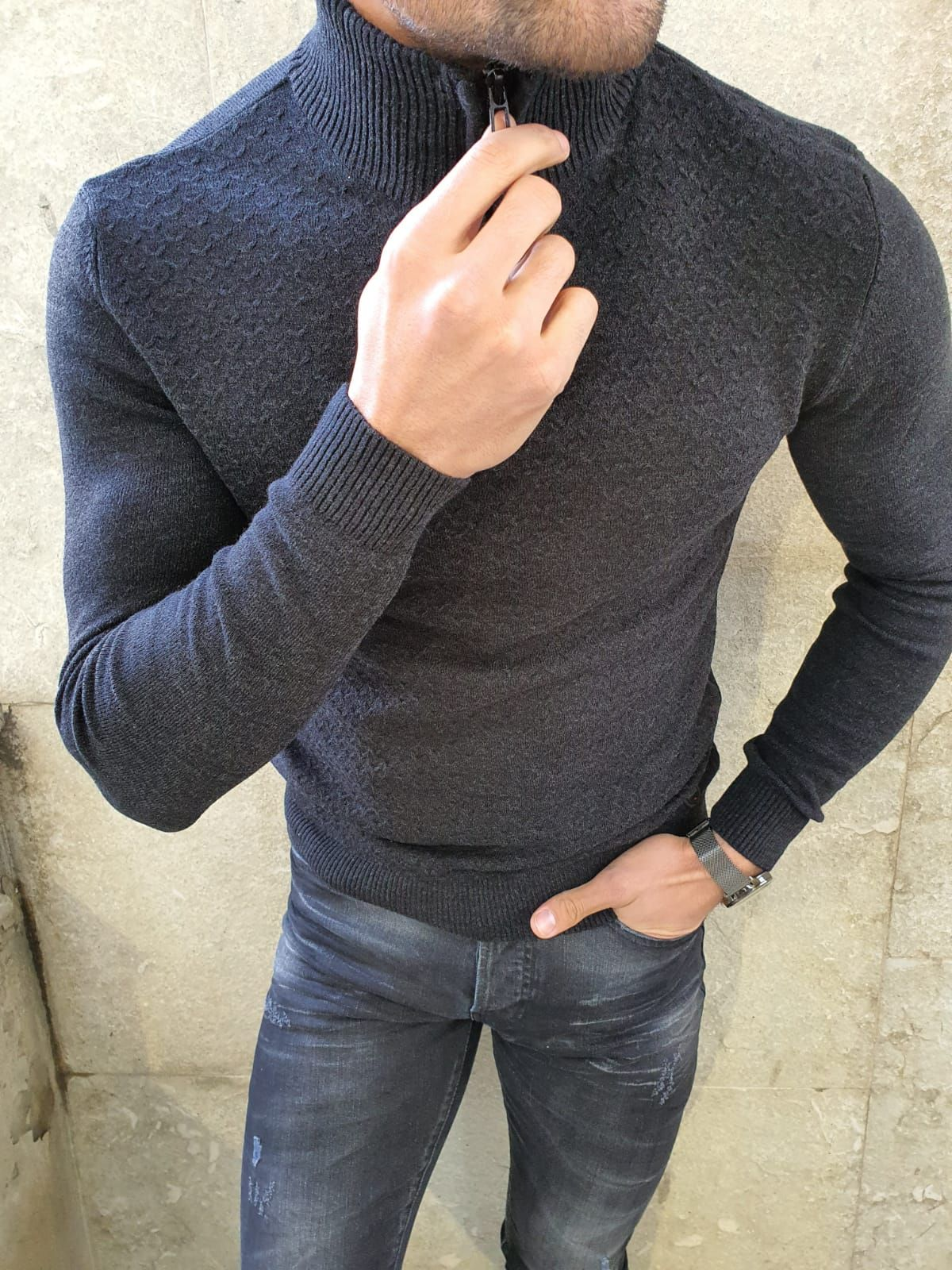 GentWith Rawlins Black Slim Fit Zipper Mock Turtleneck