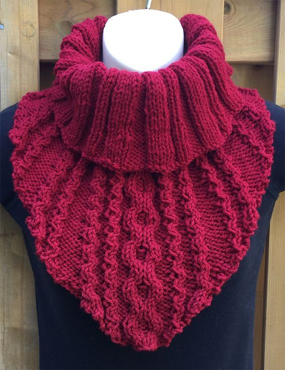 Free until September 30, 2018 Knitting Pattern for Flower & Stripes Shawl - Cabled cowl with easy to memorize stitch pattern and ribbed neck. Designed by The Knitting Artist. Worsted weight yarn. #bonnets