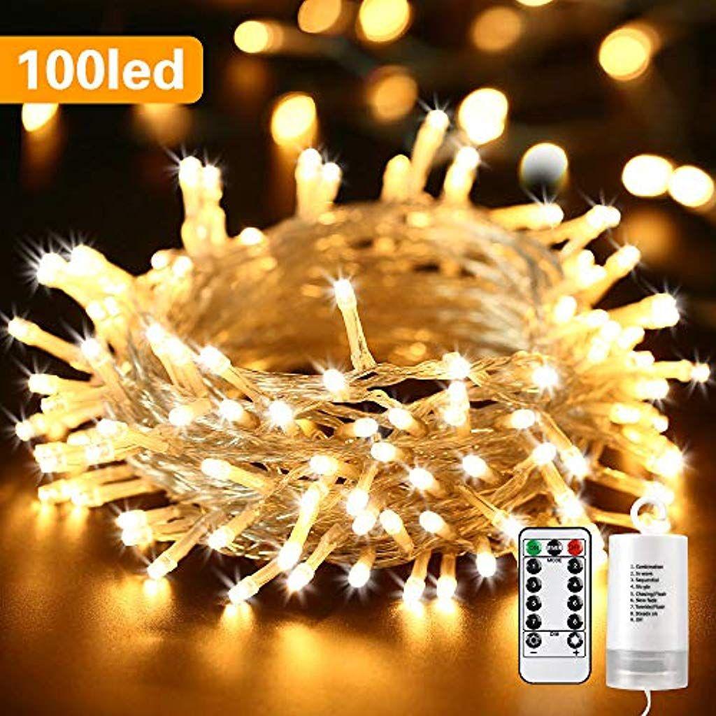 Qedertek Lichterkette Aussen Batterie 100 Led Outdoor Lichterkette Batterienbetrieben Warmweiss 8 Lichterkette Batteriebetrieben Lichterkette Lichterkette Aussen