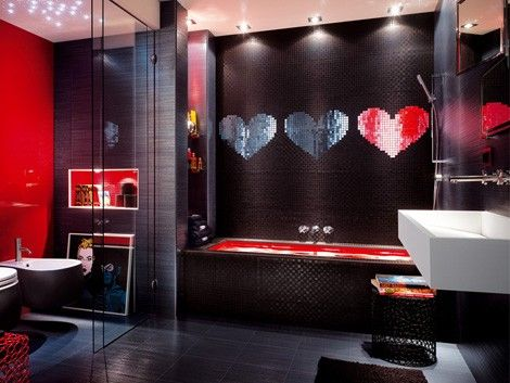 Black And Red Modern Mosaic Bathroom Design