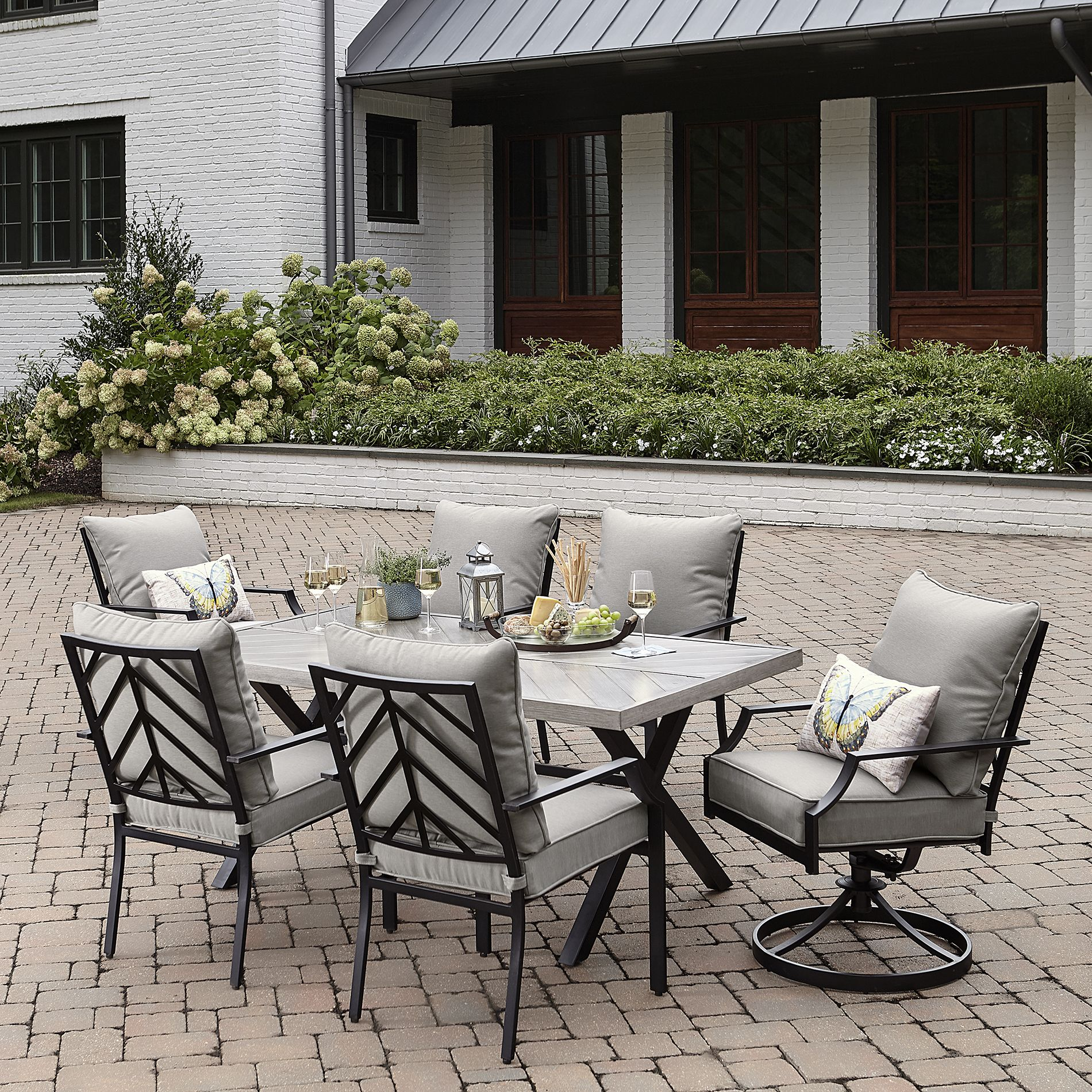 Outdoor Sutton Rowe Silver Springs 7pc Dining Set Gray In 2020 Patio Furniture Dining Set Gray Patio Furniture Nyc Furniture