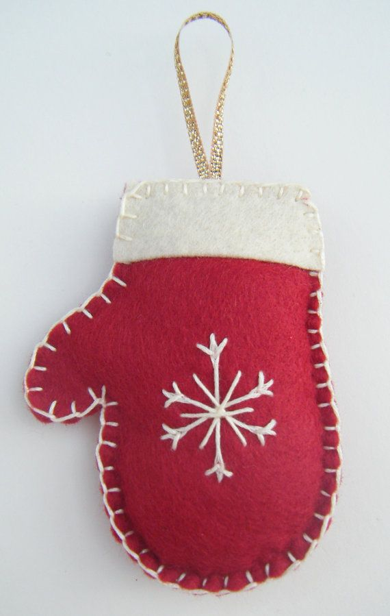 Festive hand stitched Christmas mitten decoration Ornaments