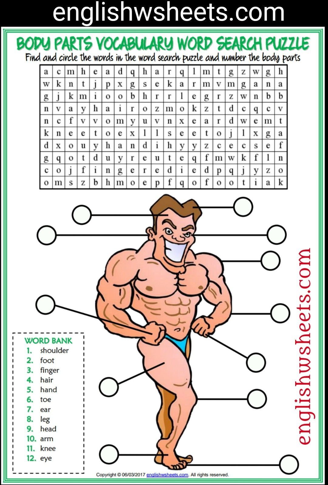 Body Parts Esl Printable Word Search Puzzle Worksheet For