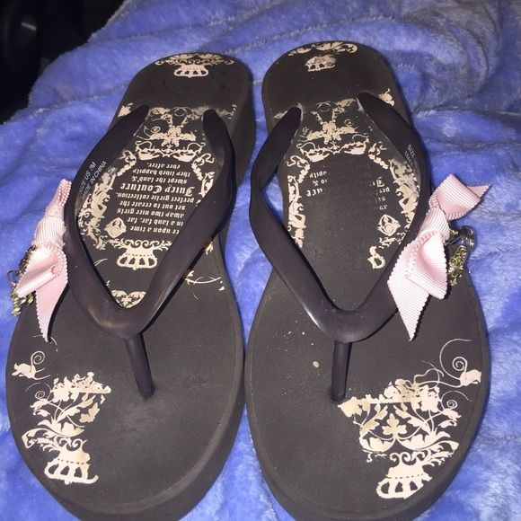 Juicy couture wedge brown and pink flip flops These are in great condition except on insole on left shoe the writing has faded off . On side of wedge it says  smells Like Couture . Has pink bows with JC charms hanging from bows. Juicy Couture Shoes Wedges