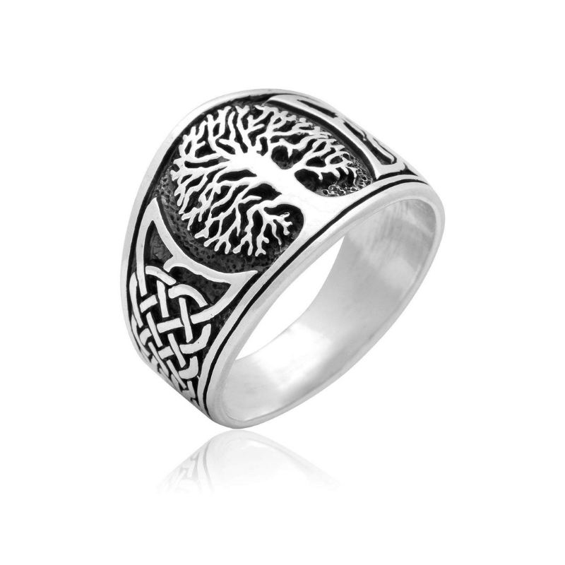 Yggdrasil with Celtic Knotwork Sterling SIlver Ring - 12