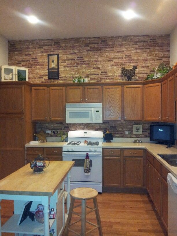 Faux Brick Wallpaper Kitchen With White Or Gray Cabinets For The