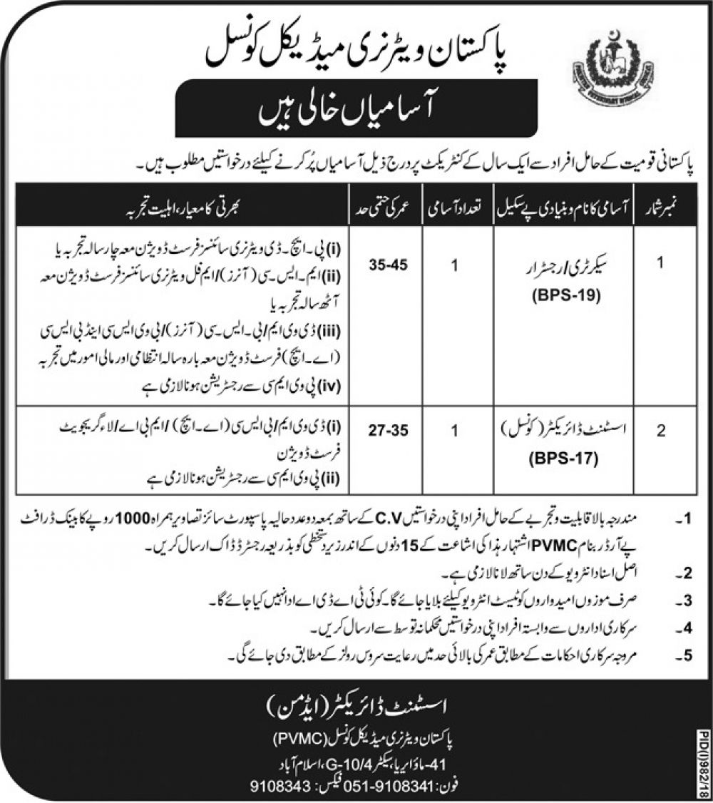 Pakistan Veterinary Medical Council (PVMC) Jobs 2018 for