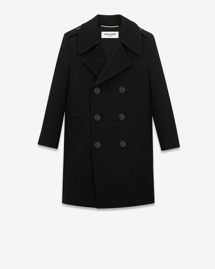 51500022bfc SAINT LAURENT CLASSIC CABAN TUBE COAT IN BLACK WOOL $ 2,990.00 CLASSIC  SAINT LAURENT DOUBLE-BREASTED PEACOAT WITH EPAULETS AND FRONT FLAP POCKETS.