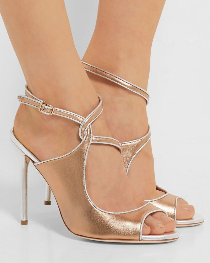 3485aa3a3653 MALONE SOULIERS Della metallic leather sandals - Shoes Post