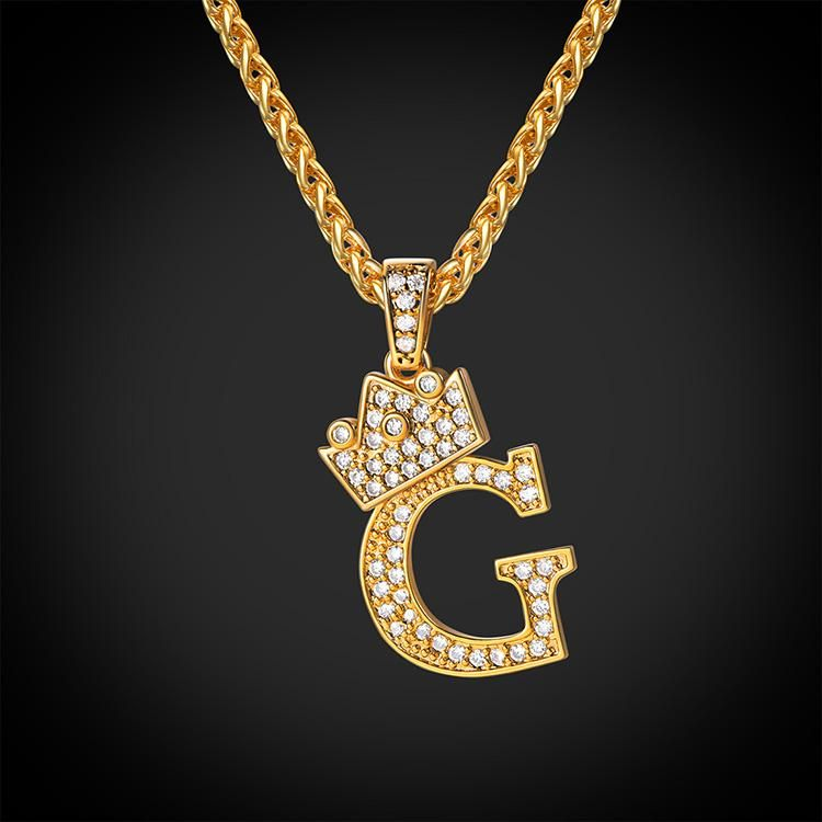 9cd90aa48d Iced Out Crown Letter G Pendant Necklace Initial Capital Jewelry – U7  Jewelry