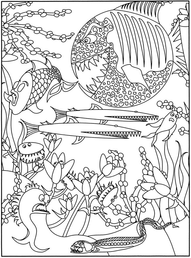 Welcome To Dover Publications 3 D Coloring Book Fish Frenzy