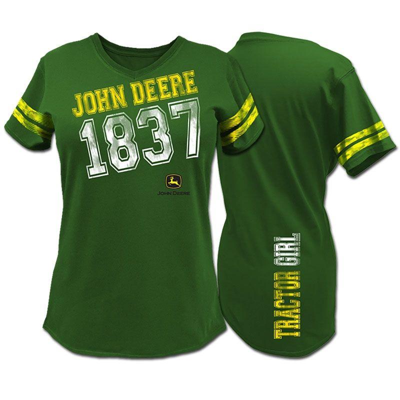 John Deere Ladies Black  V Neck T Shirt