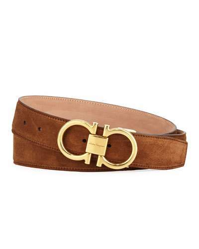 14668e20a7d28 Men's Suede Belt with Antiqued Gancini Buckle | Products | Salvatore ...