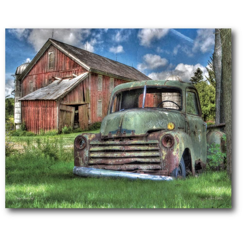 16 in x 20 in green pickup by the barn canvas wall art on canvas wall art id=70282
