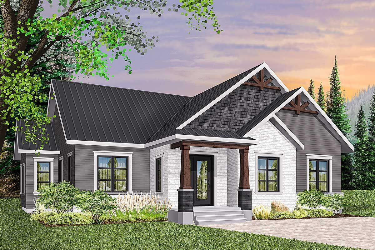 Plan 22475dr 3 Bed Modern Craftsman Ranch Home Plan Craftsman