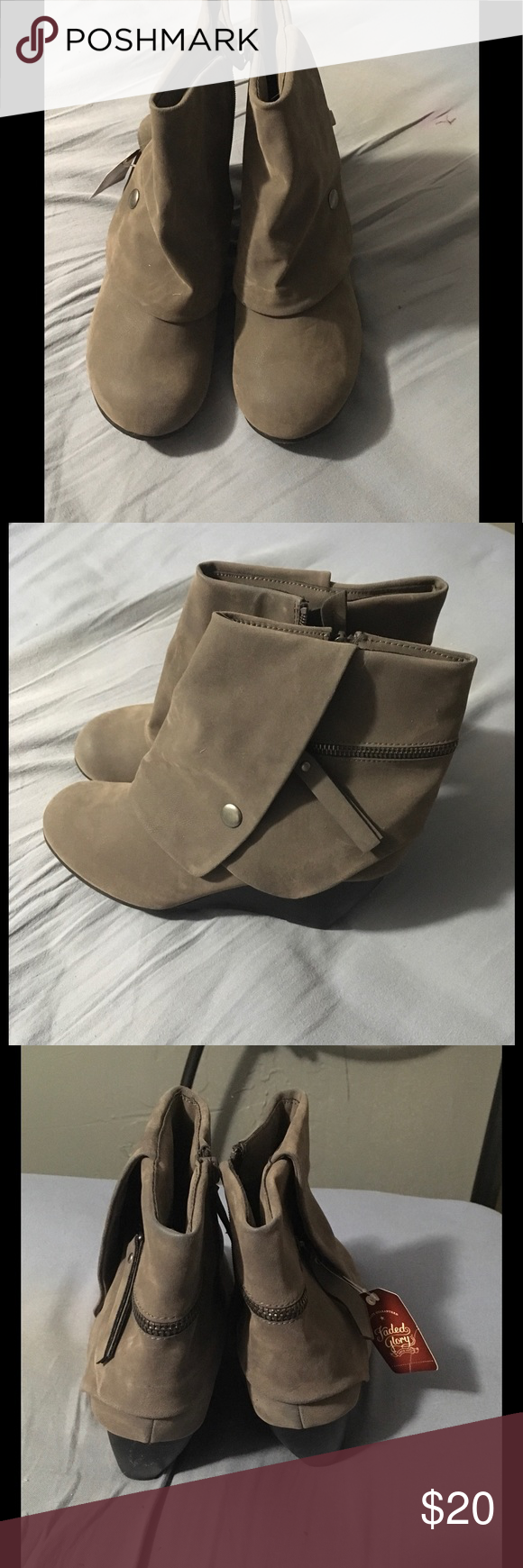 Boot wedges Size 9. Gray boots, brand new. Shoes Heeled Boots